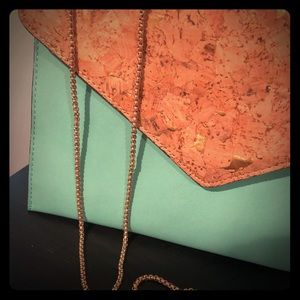 Envelope Clutch with Gold Color Chain Strap